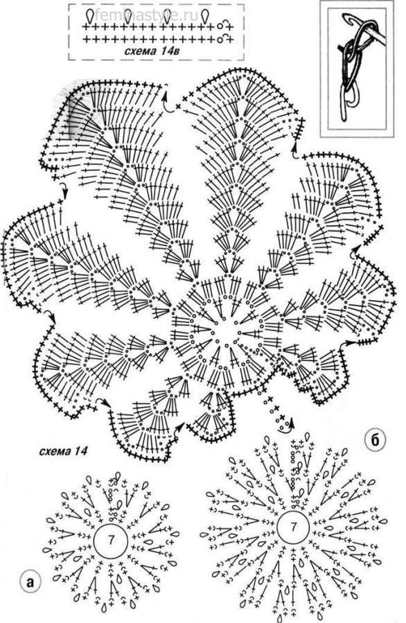Вязание крючком кленового листа схемы 51