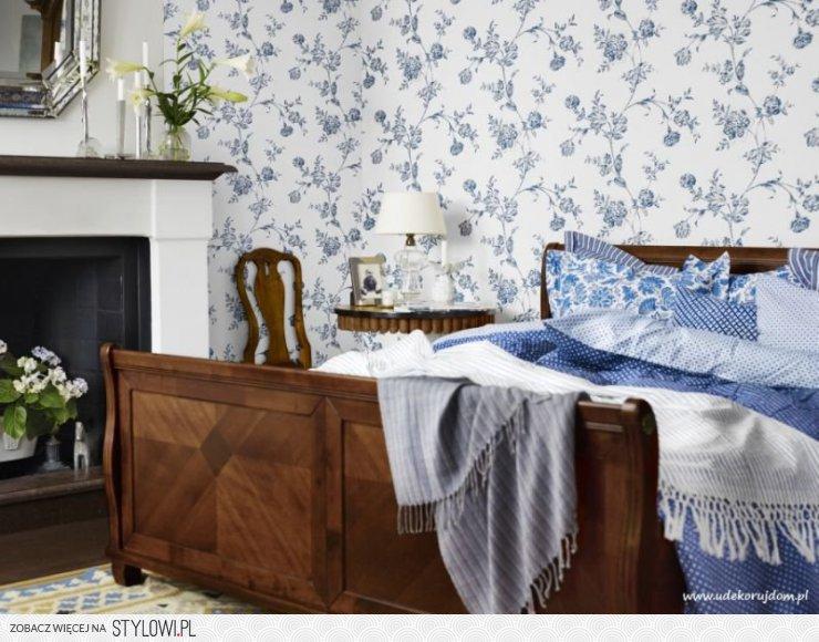 Tapeta W Niebieskie Kwiaty W Stylu Vintage Z Kolekcji B Na