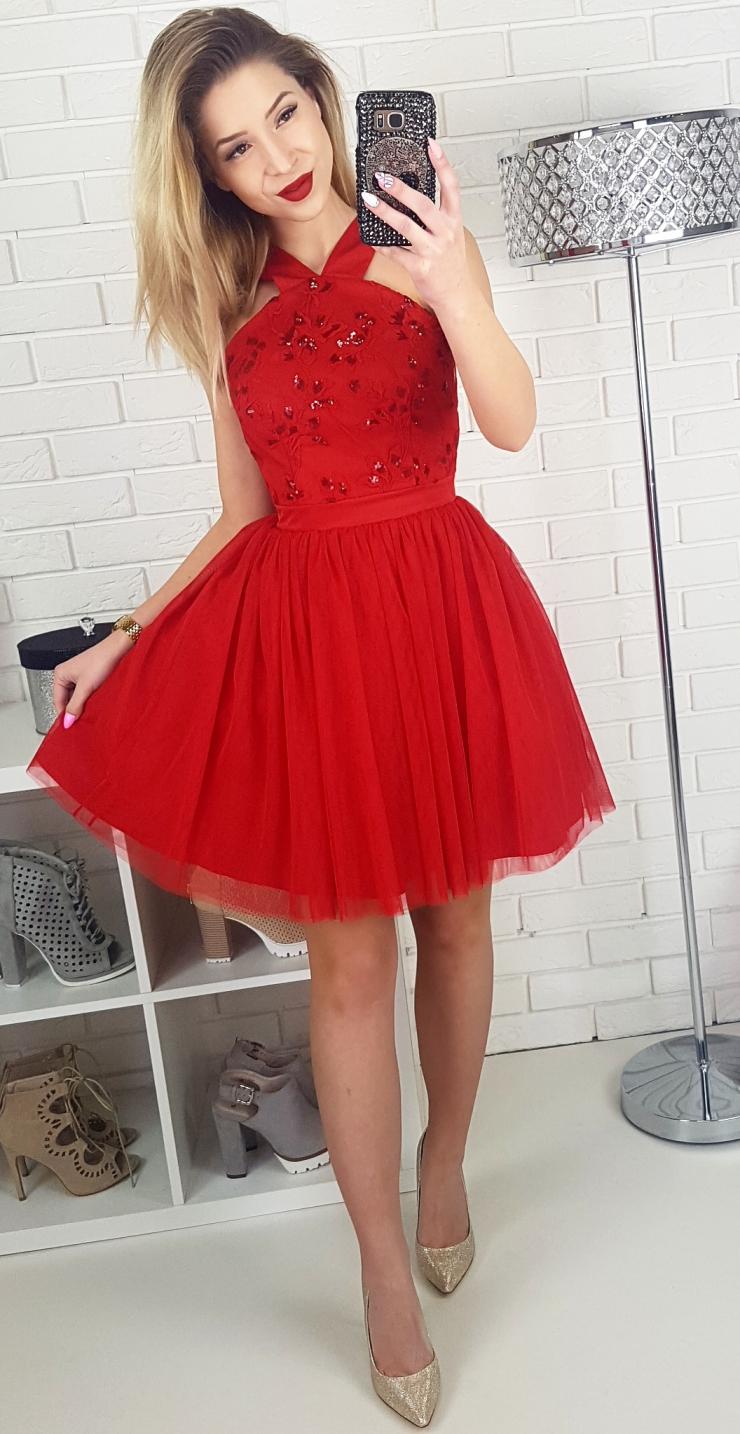 7a10261f03 Czerwona tiulowa sukienka na wesele na Stylowi.pl