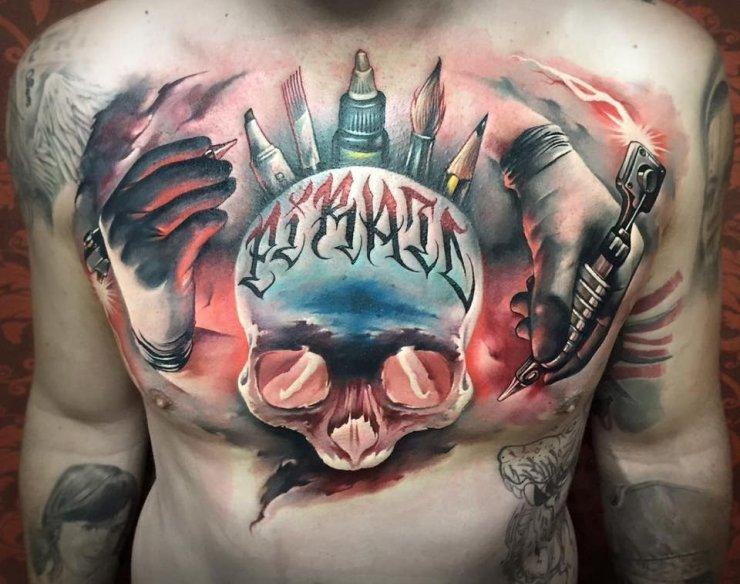 Czaszka Tatuaż Na Klatce Piersiowej I Dłonie Na Stylowipl