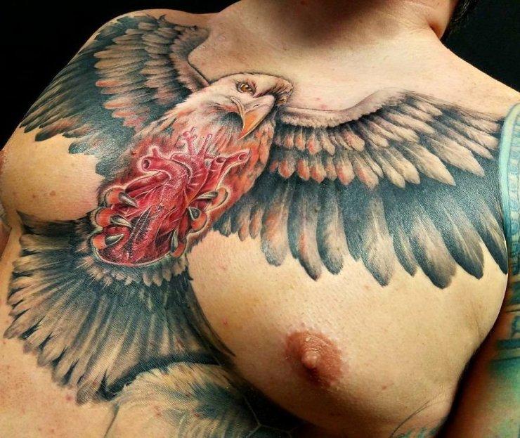 Orzeł Tatuaż Na Klatce Piersiowej Mężczyzny Na Stylowipl