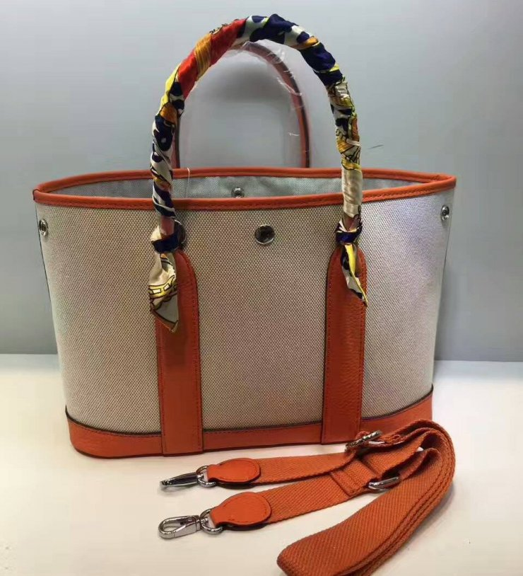 f5e02e59a1 Hermes Garden Party Bag 30cm Canvas Leather In Orange na Stylowi.pl