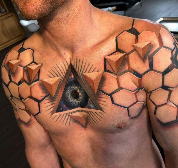 Oko Tatuaż 3d Na Klatce Piersiowej Dla Mżężczyzny Na Stylowipl
