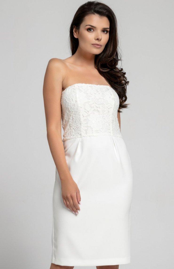 ed38def418 Nommo NA310 sukienka ecru Dopasowana sukienka