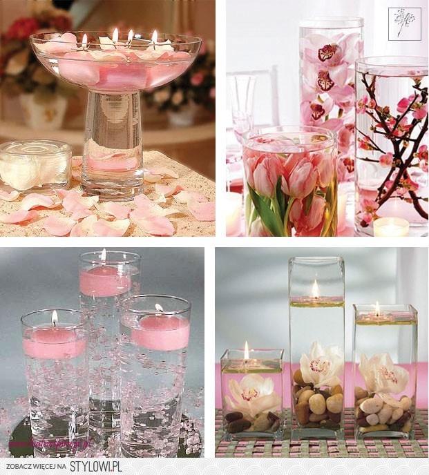 Dekoracja Stołu Woda Kwiaty I Pływające świeczki Bi Na