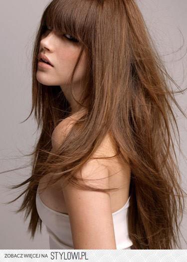 Dla Nastolatki Modne Długie Włosy Z Prostą Grzywką Na