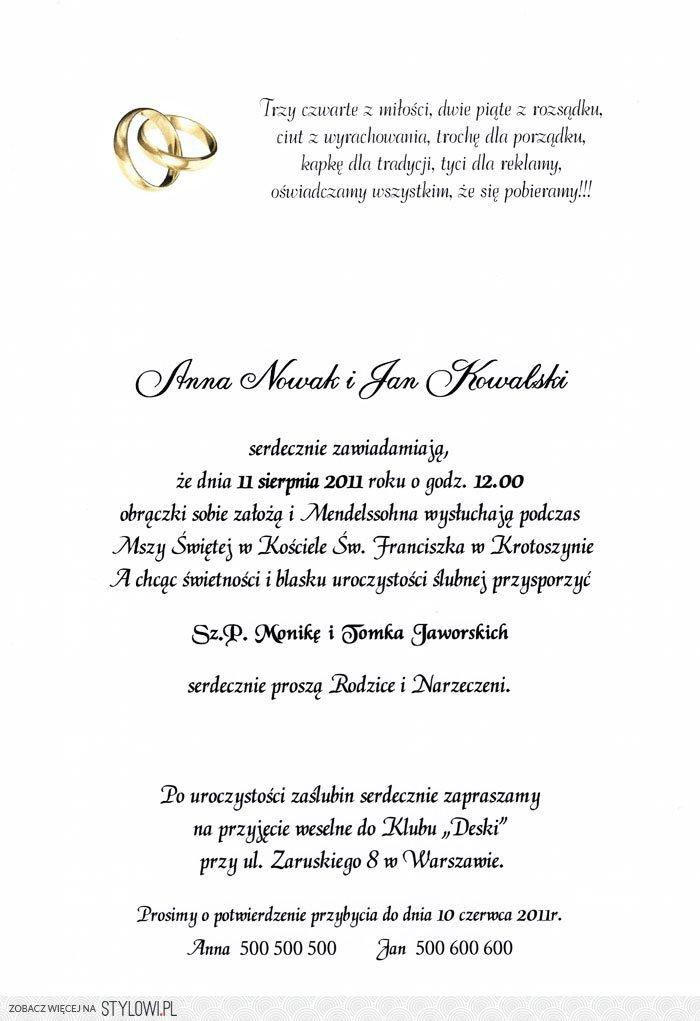 Tekst Nr4 Na Zaproszenia ślubne Na Stylowipl