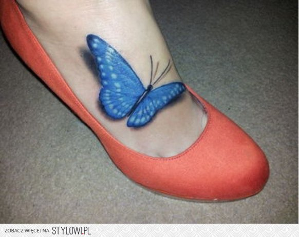 Motyl 3d Na Stopie Piękny Tatuaże Toster Na Stylowipl