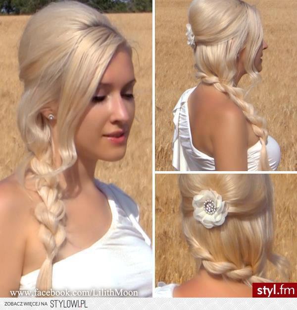 Fryzury ślubne Włosy Fryzury Długie ślubne Motylecze Na