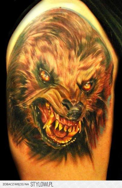 Wściekły Wilk Tatuaż Na Ramieniu Na Stylowipl