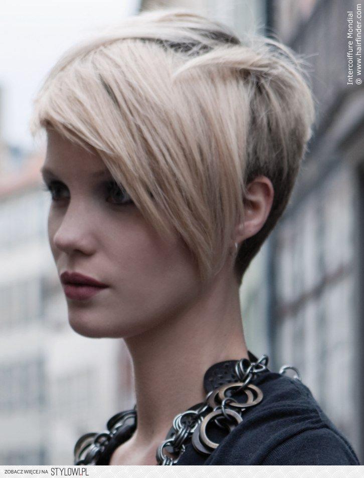 Fryzura Krótki Tył Długi Przód Jasny Blond Fryzura N Na