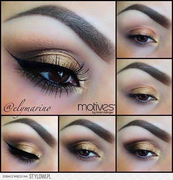Złoty Makijaż Dla Brązowych Oczu To Idealna Propozycja Na Stylowipl