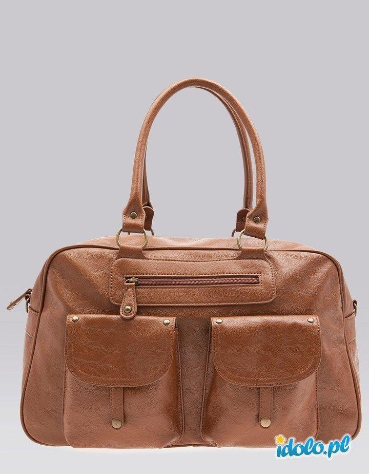 7d54950b5b5d9 skórzana torebka Bershka w kolorze brązowym - modne tor… na Stylowi.pl