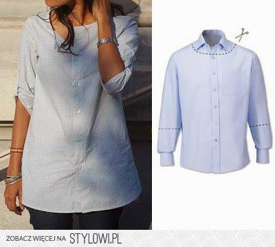 c6acc2f0a6 Bluzka z męskiej koszuli na Stylowi.pl