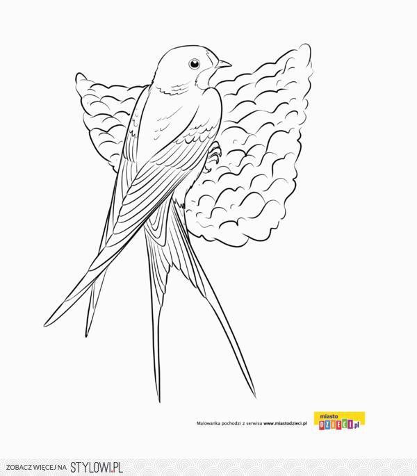 Jaskółka Kolorowanki Wiosenne Ptaki Malowanki Dla Dzi Na Stylowipl