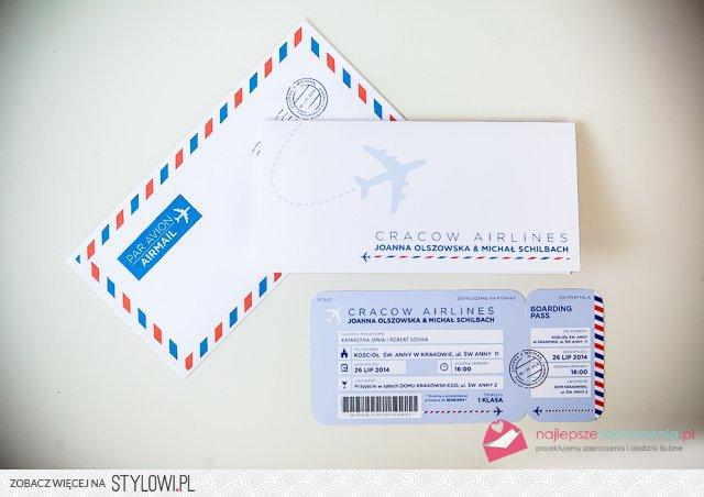 Zaproszenie Na ślub Jak Bilet Lotniczy Z Najlepszezapro Na Stylowipl