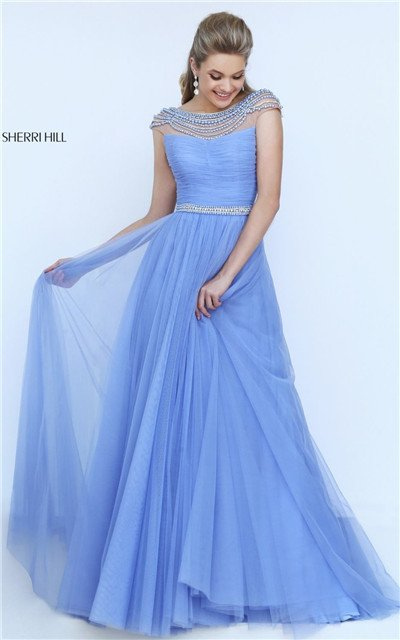 Periwinkle Sherri Hill 50187 Beaded Open Back Ruched Lo… na Stylowi.pl 2734cc8fa