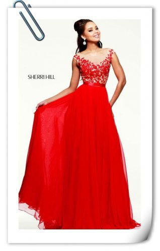 38cfc2e6dbbbd Outlet Red V-back Chiffon Floral Prom Dress By Sherri H… na Stylowi.pl