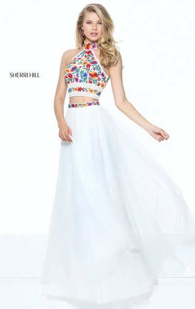 f767c055ff 2017 Ivory Multi Floral Printed Two Piece Sherri Hill 5… na Stylowi.pl