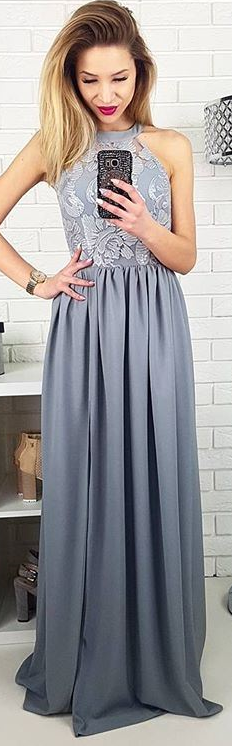 b819c12526 Piękna długa szara suknia dla druhny