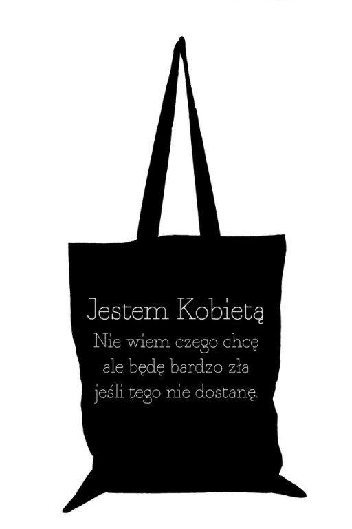 094d3de62a42d Tailormade24 Torba eko bawełniana Jestem kobietą czarna na Stylowi.pl