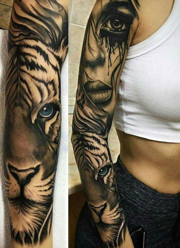 Biały Tygrys I Kobieta Wytatuowane Na Ręce Na Stylowipl