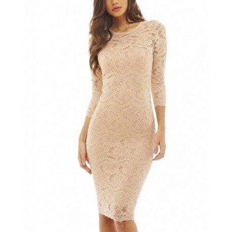 549033ad60 Beżowa Koronkowa Sukienka Na Wesele Midi Ołówkowa Z R Na Stylowipl