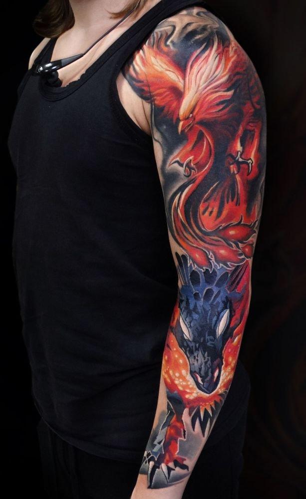 Smok I Feniks Tatuaż Na Ręce Na Stylowipl