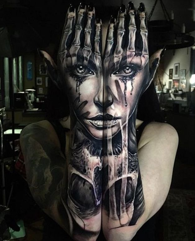 Twarz I Czaszka Nesamowity Tatuaż Na Stylowipl