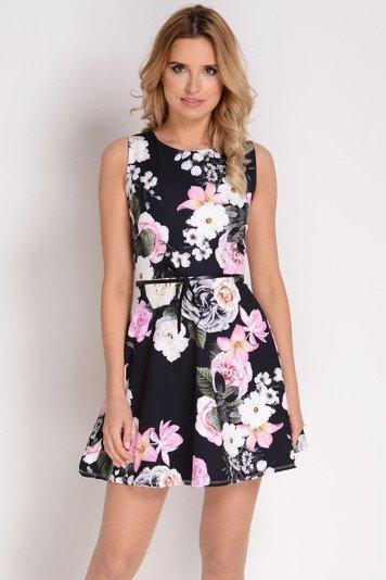 0edd871f5f AVARO Rozkloszowana sukienka w kwiaty SU-1308