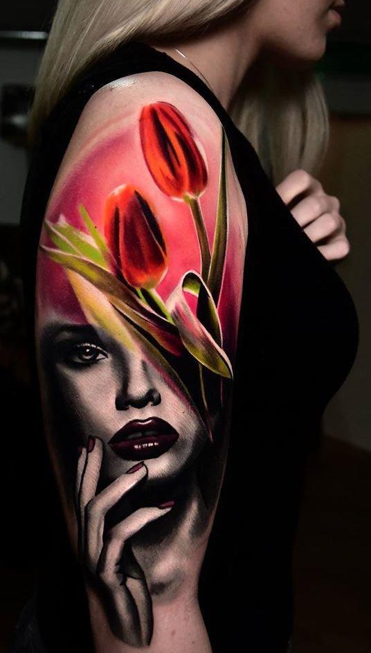 Kobieta I Tulipany Tatuaże Wzory Na Stylowipl