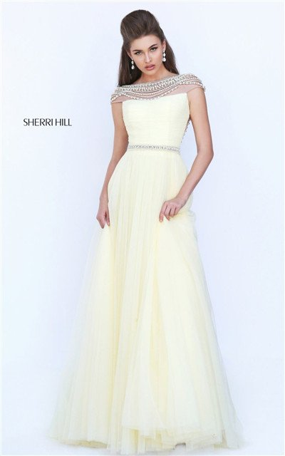 3812a05dc31 2017 Glamorous Ruched Stone Low Back Yellow Prom Gown L… na Stylowi.pl