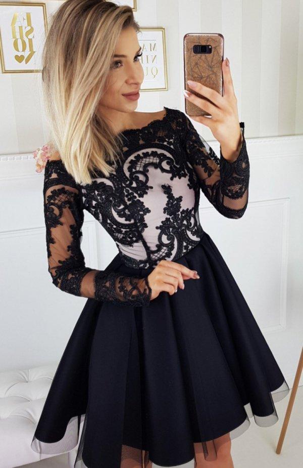 f4673956571e1 Bicotone 2137-06 sukienka czarna Efektowna wieczorowa s… na Stylowi.pl