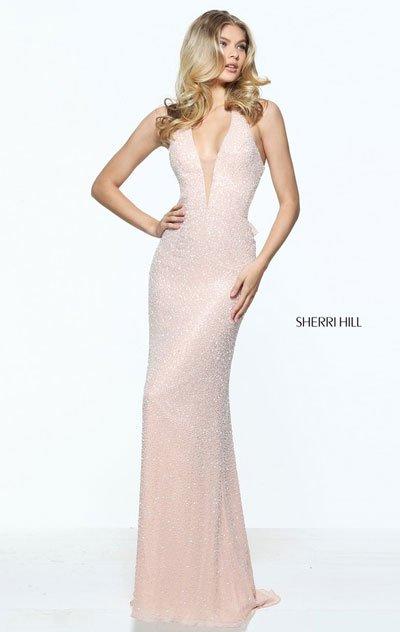 080977f280dab Blush V Neck Sherri Hill 51016 Evening Chiffon Dress Wi… na Stylowi.pl