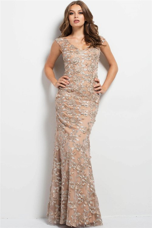7ce1139852 Jovani 46731 Embroidered Floral Fitted Gown na Stylowi.pl