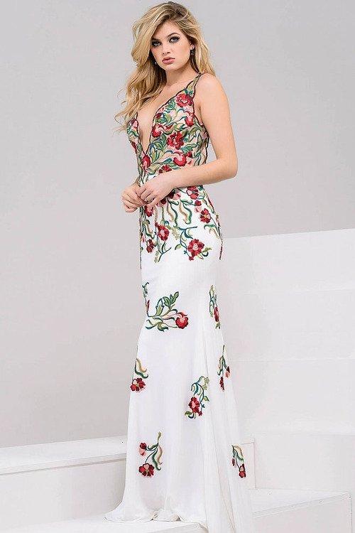 539a935141 Jovani 49822 Embroidered Deep V-neck Sheath Dress na Stylowi.pl