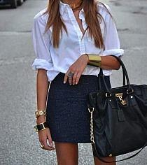 568215b05e galowa stylizacja  moda  spódnica  czarna  koszula  skó… na Stylowi.pl
