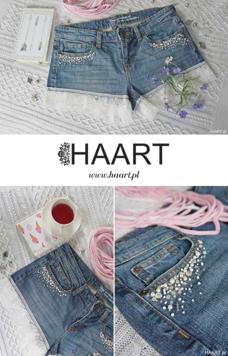 Szorty z koronka z jeansów DIY zrób to sam HAART supe… na