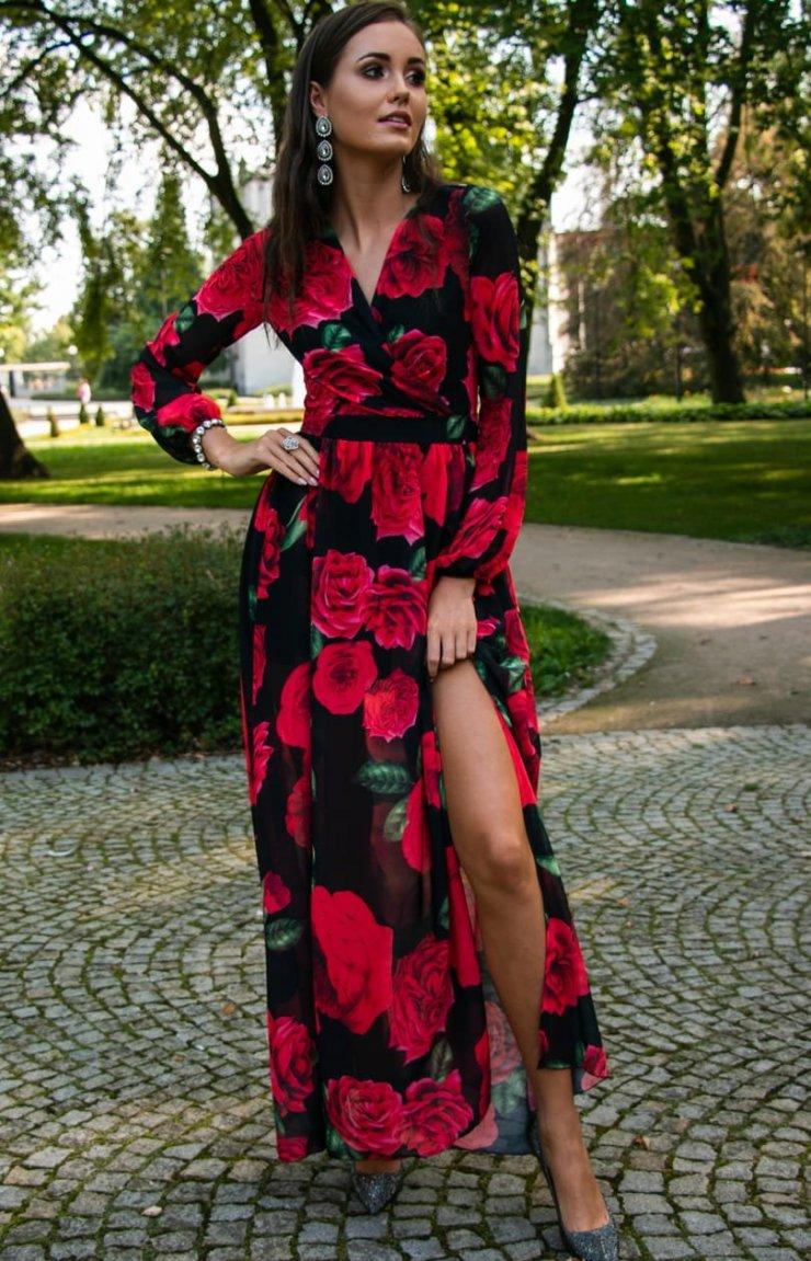 Długa sukienka w kwiaty Roco 0219D46 dostępna w sklepi… na