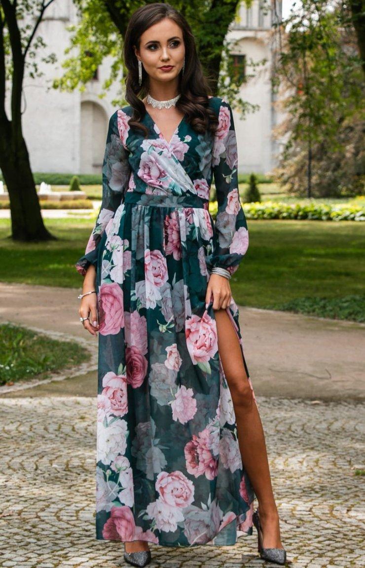 Długa sukienka w kwiaty Roco 0219D48 Modne sukienki… na