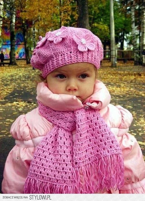 dziecko szydełko szalik i czapka dla dziewczynki na