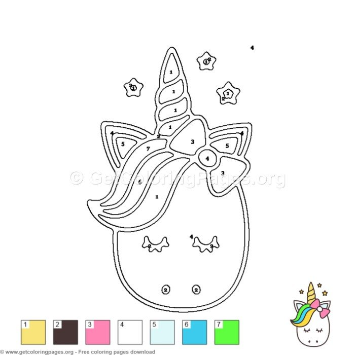 Cute Unicorn Color By Number Coloring Pages Getcolori Na Stylowi Pl