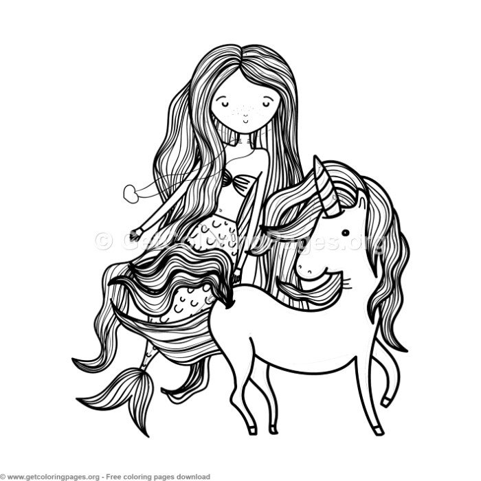 Sweet Mermaid and Unicorn Coloring Pages - GetColoringP ...